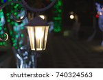 vintage lantern at night | Shutterstock . vector #740324563