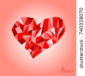red heart polygon vector | Shutterstock .eps vector #740328070