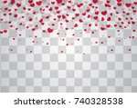 romantic origami paper heart... | Shutterstock .eps vector #740328538