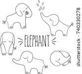 elephants hand sketch vector... | Shutterstock .eps vector #740330278