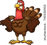 angry cartoon thanksgiving... | Shutterstock .eps vector #740330503