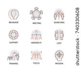 modern flat thin line icon set... | Shutterstock .eps vector #740330608
