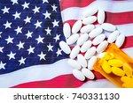 white pharmaceutical pills... | Shutterstock . vector #740331130