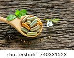 herbal medicine in capsules... | Shutterstock . vector #740331523