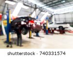 blur image of inside tire store ... | Shutterstock . vector #740331574