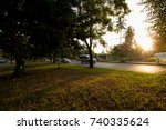 park on road in city thailand | Shutterstock . vector #740335624
