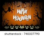 letters happy halloween hanging ... | Shutterstock .eps vector #740337790