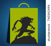 werewolf on halloween with... | Shutterstock .eps vector #740342494