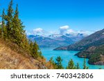 mountains and lake | Shutterstock . vector #740342806