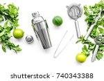 make mojito cocktail with lime... | Shutterstock . vector #740343388
