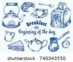 breakfast illustration. toaster ... | Shutterstock .eps vector #740343550