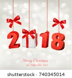 new year background with a 2018 ... | Shutterstock .eps vector #740345014