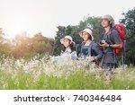happy asian family standing...   Shutterstock . vector #740346484