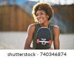 portrait of happy african... | Shutterstock . vector #740346874