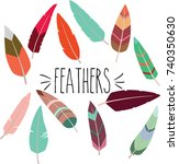 feathers hand sketch colored | Shutterstock .eps vector #740350630