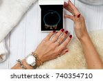 female hands with jewelry and... | Shutterstock . vector #740354710