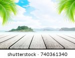 empty wooden table and coconut... | Shutterstock . vector #740361340