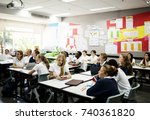 diverse group of students... | Shutterstock . vector #740361820