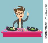 young caucasian dj mixing music ... | Shutterstock .eps vector #740362840