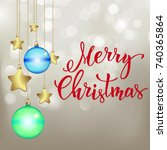 christmas background with ... | Shutterstock .eps vector #740365864