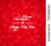 merry xmas red card with bokeh... | Shutterstock . vector #740368060