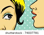 Woman Telling Secrets  Pop Art...
