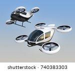 two self driving passenger... | Shutterstock . vector #740383303