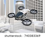 self driving passenger drone... | Shutterstock . vector #740383369