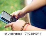 a girl student using samsung... | Shutterstock . vector #740384044