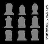 tombstone silhouette set for... | Shutterstock .eps vector #740384398