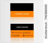 business card black orange... | Shutterstock .eps vector #740386000