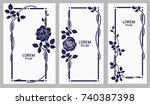 vector set of floral frames...   Shutterstock .eps vector #740387398