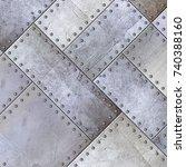 steel metal plate background  3d | Shutterstock . vector #740388160