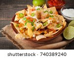corn mexican nachos with beef ... | Shutterstock . vector #740389240