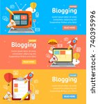 blogging flyer banners posters... | Shutterstock .eps vector #740395996