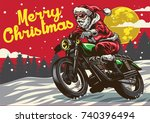 santa claus riding vintage... | Shutterstock .eps vector #740396494