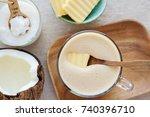 bulletproof coffee  blended... | Shutterstock . vector #740396710