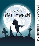 happy halloween scary... | Shutterstock .eps vector #740397124