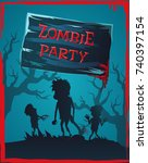 zombie party invitation with...   Shutterstock .eps vector #740397154