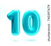 aqua blue glossy letter number... | Shutterstock . vector #740397679