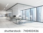 white and glass office interior ... | Shutterstock . vector #740403436