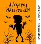 happy halloween poster with... | Shutterstock .eps vector #740405524