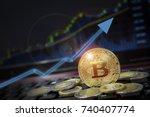 bitcoin currency rising arrow... | Shutterstock . vector #740407774