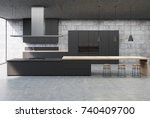 concrete kitchen interior with... | Shutterstock . vector #740409700