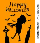 happy halloween poster with... | Shutterstock .eps vector #740409928