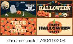 trick or treat and halloween... | Shutterstock .eps vector #740410204