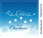 merry christmas beautiful blue... | Shutterstock .eps vector #740410714