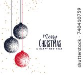 christmas balls made with... | Shutterstock .eps vector #740410759