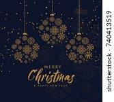elegant merry christmas... | Shutterstock .eps vector #740413519