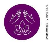 massage logo with elegant woman ... | Shutterstock .eps vector #740414278